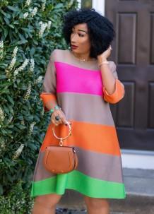 Übergröße Herbst Buntes A-Linien-Kleid