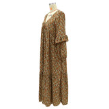 Langarm V-Ausschnitt Floral Loose Long Dress
