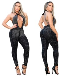 Sexy kralen halter backless jumpsuit