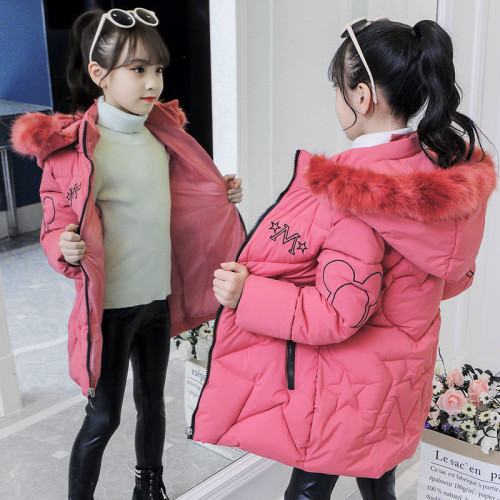 Winter Girl Padded Coat with Fur Hooded