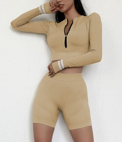 Constrast Zip Long Sleeve Yoga Top and Short Set