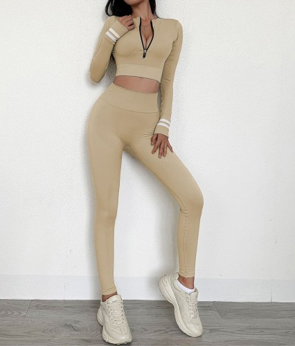 Conjunto de leggings y top de yoga de manga larga con cremallera Constrast