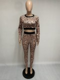 Herbst Party Sexy Leopard Crop Top und Hosen Set
