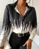Herbst afrikanische weiße und schwarze elegante Bluse