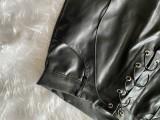 Winter schwarzes Leder Crop Top und Schnürhose Set