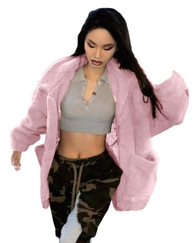 Winter Solid Color Plush Loose Coat