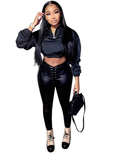Winter Black Leather Crop Top and Lace Up Pants Set