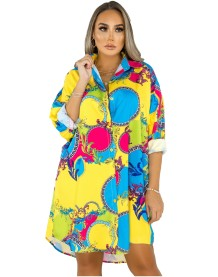Autumn African Retro Print Blouse Dress