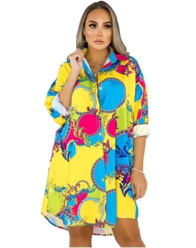 Herfst Afrikaanse retro print blouse jurk