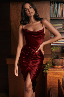 Summer Party Sexy Red Straps Irregular Midi Dress
