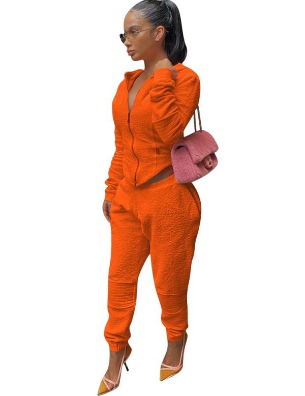 Winter Solid Color Reißverschluss Hoodie Trainingsanzug