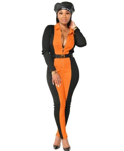 Herbstlicher lässiger Kontrast Bodycon Zipper Jumpsuit
