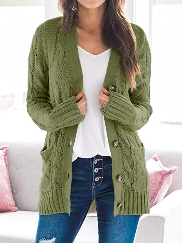 Herbstlicher einfarbiger Taschenpullover-Mantel