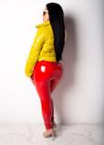 Winter Solid Color Gepolsterte Lederjacke