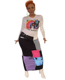 Vestido largo con curvas con estampado colorido africano de otoño
