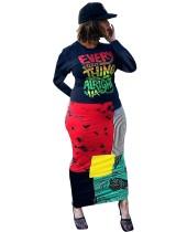 Sonbahar Afrika Renkli Baskı Uzun Kıvrımlı Elbise