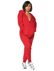 Autumn Solid Color Zip Up Hoodie Tracksuit