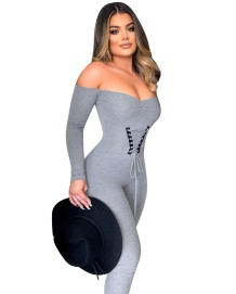 Sexy strapless bodycon-jumpsuit met vetersluiting
