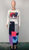 Herbst afrikanisches buntes Druck-langes kurviges Kleid