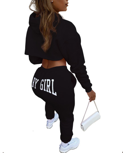 Winter Print Crop Top and Pants Hoodie Sweatsuit
