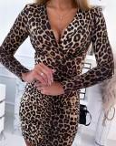 Mini-robe sexy à imprimé léopard pour fête d'automne