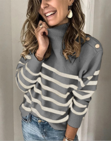 Autumn Stripes O-Neck Regular Sweaters