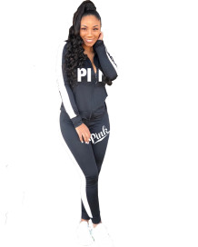 Autumn Letter Print Zip Up Tracksuit