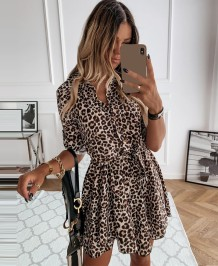 Autumn Leopard Print Casual Skater Dress