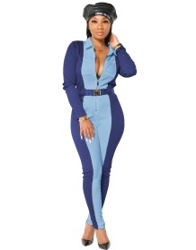 Autumn Casual Contrast Bodycon Zipper Jumpsuit