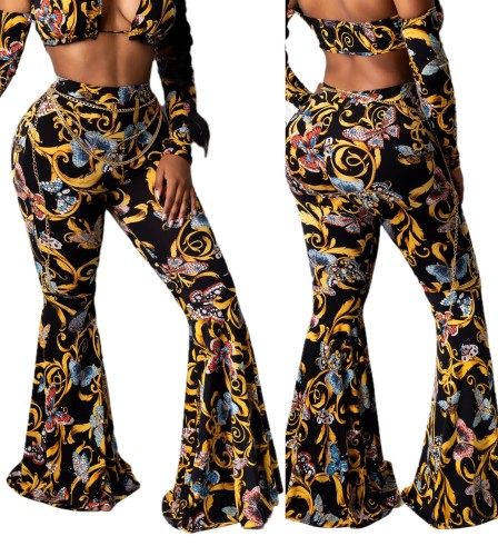 Sexy High Waist Chains Print Flare Trousers