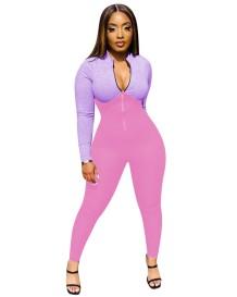 Autumn Fitness Contrast Zipper Bodycon Jumpsuit