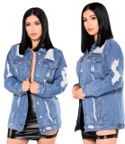 Autumn Button Up Ripped Blue Jeansjacke