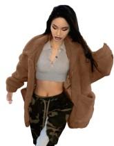 Abrigo suelto de felpa de color sólido de invierno