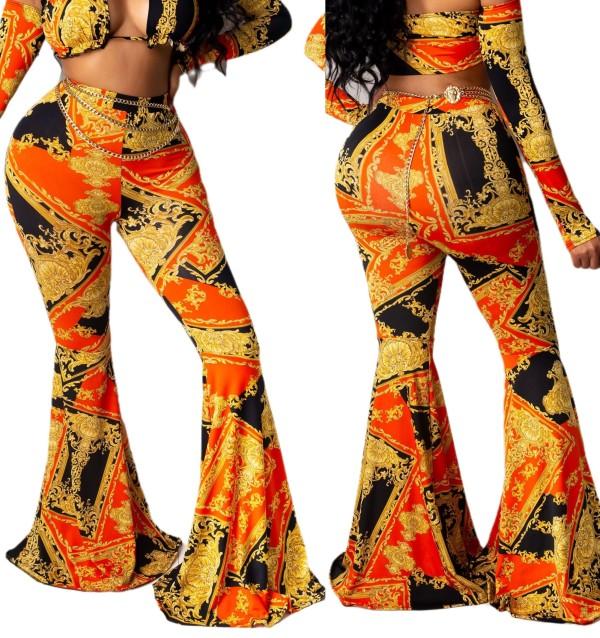 Sexy High Waist Ketten Print Flare Hosen