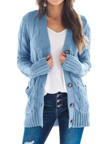 Abrigo de suéter con bolsillos de color sólido de otoño