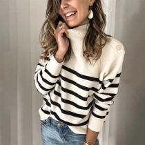 Suéteres regulares con cuello en O de rayas de otoño