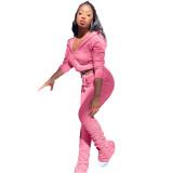 Autumn Solid Color Crop Top und Stack Pants Hoodie Sweatsuit