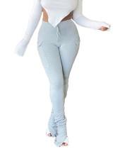Pantalones de pila de hendidura de cintura alta de color sólido de otoño