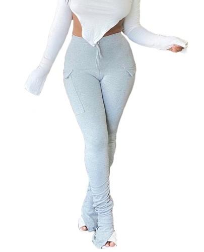 Autumn Solid Color High Waist Slit Stack Pants