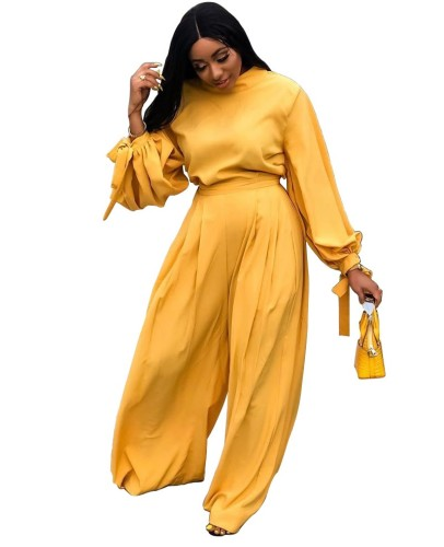 Autumn Solid Color Puff Sleeve Shirt and Loose Pants Set