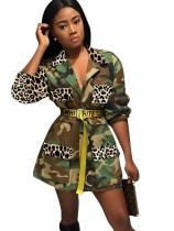 Casaco longo com Camou Africano de Outono e Estampa de Leopardo