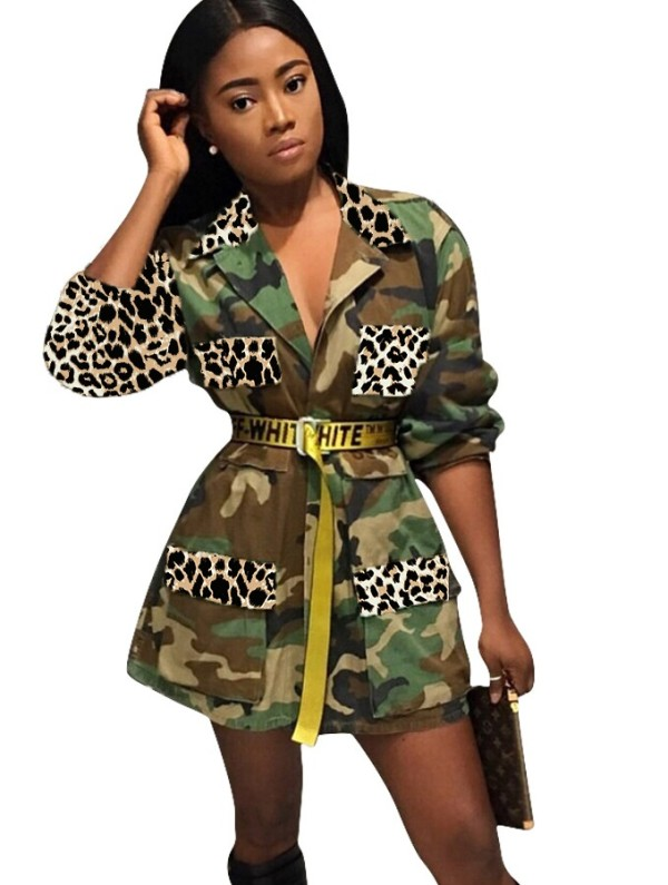Herbst Afrikanischer Camou und Leopard Print Long Coat