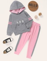 Sudadera con capucha y estampado de otoño para niña