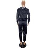 Schwarzer Hoodie-Trainingsanzug mit Herbstdruck