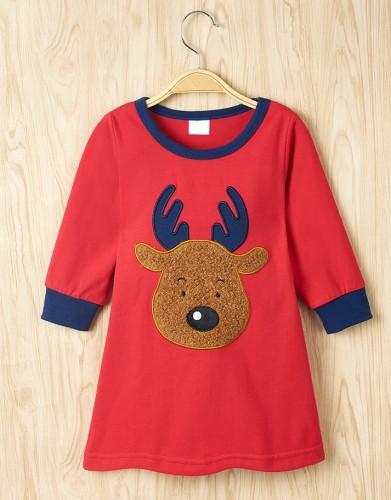 キッズガールクリスマスプリントシャツドレス