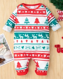 Baby Boy Christmas Print Button Up Rompertjes