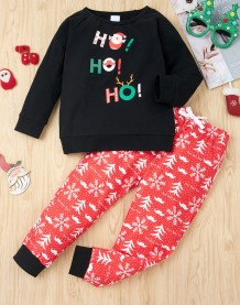 Kinder Boy Christmas Print Shirt und Hose Set
