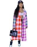 Herfst kleurrijke geruite Afrikaanse lange jas