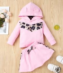 Kids Girl Autumn Print Pink Hoodie Shirt and Skirt Set