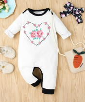 Baby Girl Autumn Print White Button Up Strampler mit Stirnband